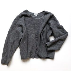 CJ Banks Charcoal Ribbed Knit Open Cozy Cardigan